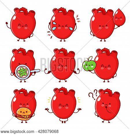 Cute Healthy And Unhealthy Human Heart Organ Set. Vector Line Doodle Cartoon Kawaii Character Illust