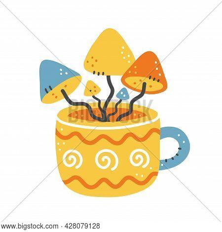 Cute Tea Cup With Mushrooms Inside. Vector Hand Drawn Cartoon Illustration Logo Icon. Magic Psilocyb