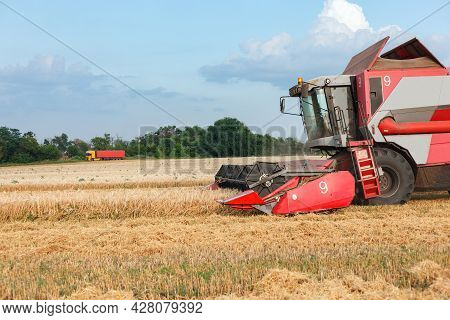 Wheat Harvesting On Field In Summer Season. Combine Harvester Harvests Ripe Wheat. Agriculture. Proc