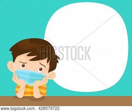 Children Boy Bored Wearing A Surgical Mask To Prevent Virus.kids Wearing Protective Medical Mask.