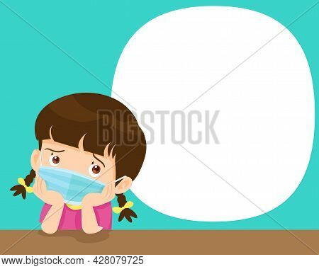 Children Girl  Bored Wearing A Surgical Mask To Prevent Virus.kids Wearing Protective Medical Mask.