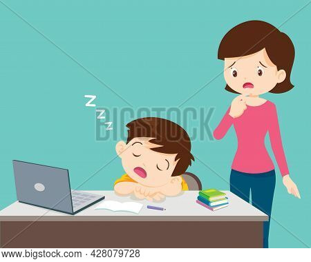 Mom Looking Child Girl Bored Of Studying Sleeps In Front Of The Laptop. Concept Of Tired Kid From Ho
