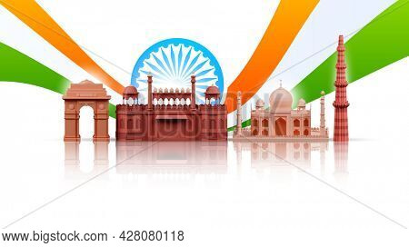 3D Illustration Of India Famous Monuments With Ashoka Wheel And Tricolor Wave On White Background.