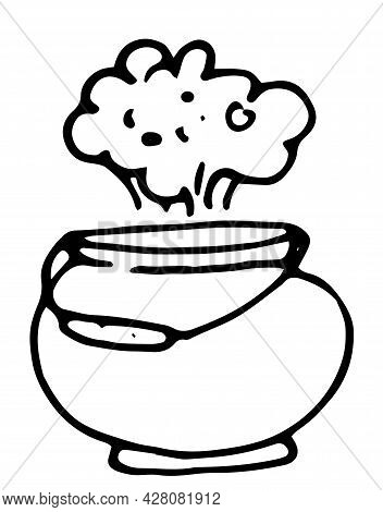 Vector Boiler With A Cloud Of Steam. Hand-drawn Doodle-style Witch's Cauldron With A Cloud Of Steam,