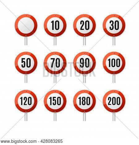 Realistic Detailed 3d Different Speed Limitation Road Sign Set. Vector