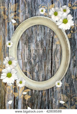 Oval Vintage Frame On A Wood Wall