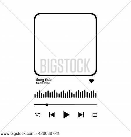 Song Plaque With Buttons, Loading Bar, Equalizer Sign And Frame For Album Photo. Trendy Music Player