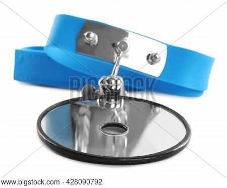 Head Mirror Isolated On White. Ophthalmologist Tool