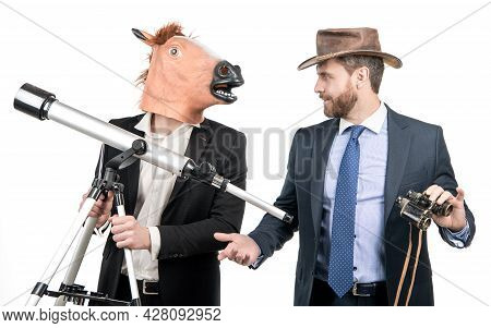 Businessman In Horse Head Mask Hold Telescope And Cowboy Man With Binoculars, Business Vision