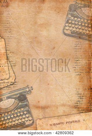 Vintage Background With Typewriter
