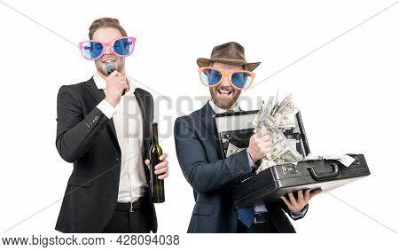 He Hit The Jackpot. Showman Interview Jackpot Winner. Winning Man Hold Money Suitcase