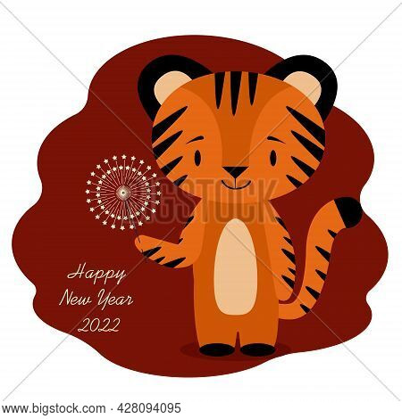 New Year 2022 Celebration Card With Tiger And Sparkler
