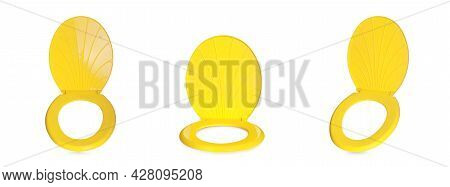 Set With Yellow Plastic Toilet Seats On White Background. Banner Design