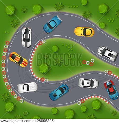 Cars Drifting Top View Background. Rally Cars Drifting Vector Illustration. Sport Cars Drifting Cart