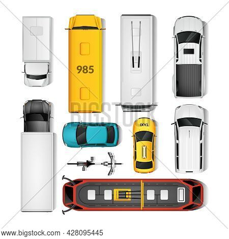 City Transport Top View Icons Set.city Transport Isolated Vector Illustration. City Vehicles Design