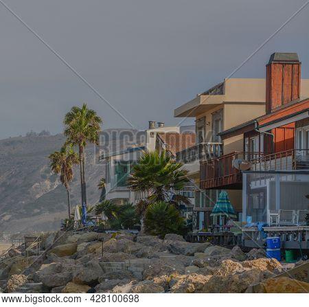 Beach Houses At Emma Wood State Beach On The Pacific Ocean, Ventura, Ventura County, California