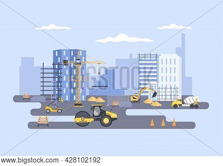 Construction Of Building Vector Illustration. Architecture Makes Foundation, Pours Concrete, Excavat