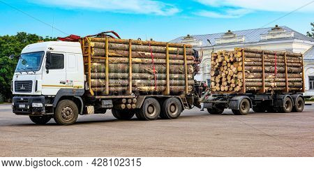 Tordgok, Russia - June, 26, 2021: timber truck stands on a Parking in Tordgok, Russia