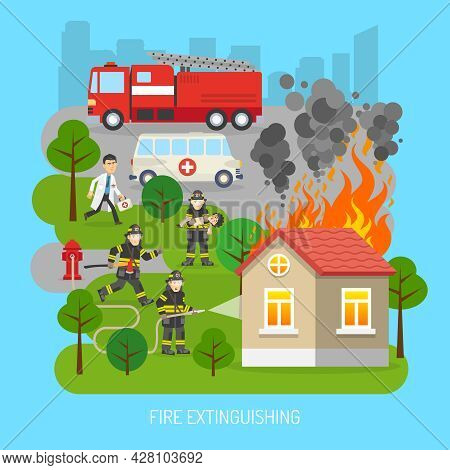 Firefighters Rescuing Child In Fire Extinction Action Scene With Fire Truck And Ambulance Flat Abstr