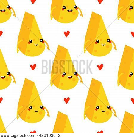 Cute Smiling Cartoon Style Cheese Chunks Characters And Red Hearts Vector Seamless Pattern Backgroun