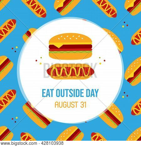 National Eat Outside Day With Hot Dog And Burger, Cheeseburger Cute Cartoon Icons And Seamless Patte
