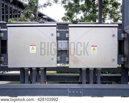 Outdoor Electric Control Box. Circuit Controller Box. Electric Control Box With Push Buttons And Swi
