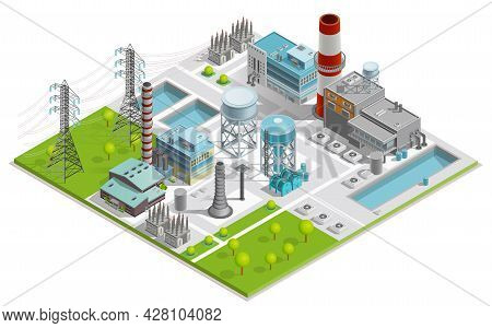 Vector Illustration Of Boiler Factory For Production Of Thermal And Electrical Energy With Power Lin