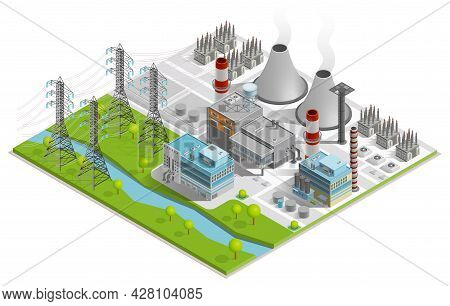 Vector Illustration Of Thermal Power Station  For Production Of Electrical Energy With Chimneys Indu