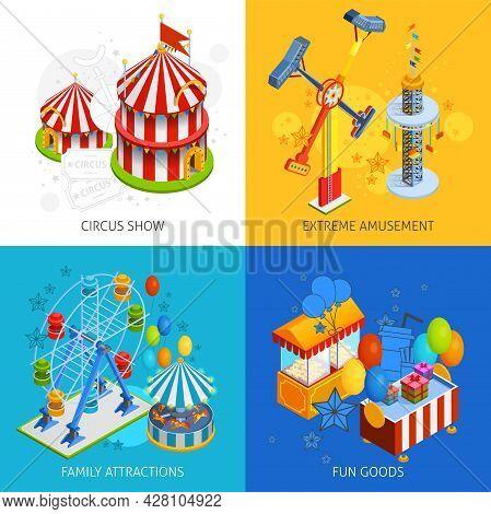 Amusement Park 2x2 Isometric Design Concept Set Of Circus Show Extreme Amusement Family Attractions