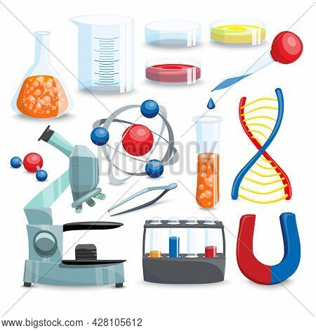 Science Icons Set. Science Vector Illustration. Science Cartoon Symbols. Chemistry Design Set.scienc