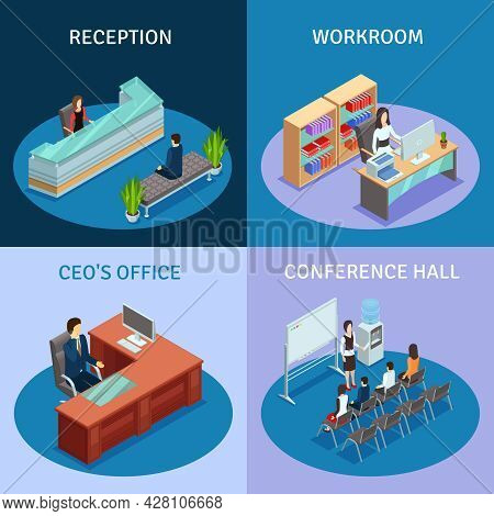 Modern Workplace 4 Icons Square Composition Poster With Ceo Office Reception And Conference Hall Iso