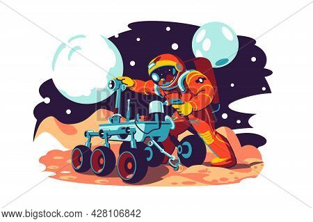Astronaut In Costume Fix Machine Vector Illustration. Astronaut Character Explore Space Flat Style.