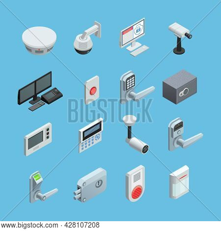 Home Security System Elements Isometric Icons Collection With Surveillance Motion Sensor Camera With