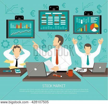 Stock Market Trader Concept. Stock Market Trader Information. Stock Market Vector Illustration. Fina