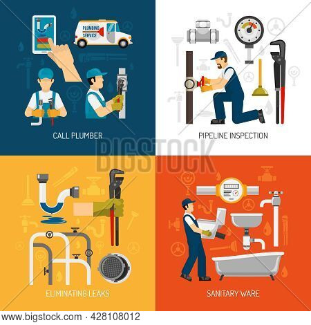 Plumbing Service Concept With Call Repairman Pipeline Inspection Sanitary Ware Elimination Of Leaks