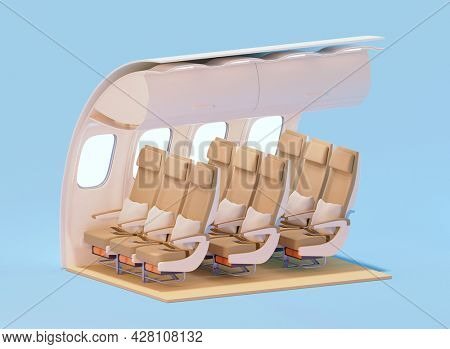 Airplane interior cross-section. Economy class cabin. Passenger aircraft with premium economy class travel seats. 3d illustration