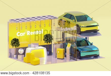Car rent service office and rental cars. Modern office interior with self service kiosk and electric cars on the automatic multistorey parking. 3d illustration