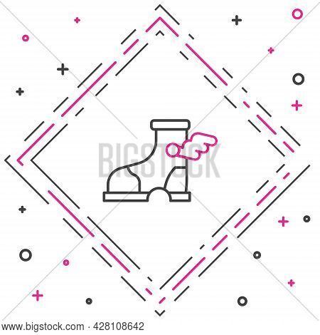 Line Hermes Sandal Icon Isolated On White Background. Ancient Greek God Hermes. Running Shoe With Wi