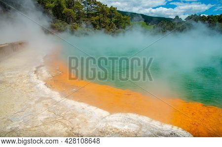 Beautiful View Of Champagne Pool An Iconic Tourist Attraction Of Wai-o-tapu The Geothermal Wonderlan