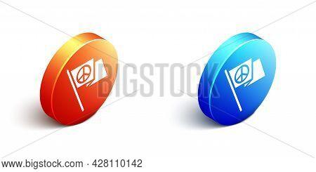 Isometric Peace Icon Isolated On White Background. Hippie Symbol Of Peace. Orange And Blue Circle Bu