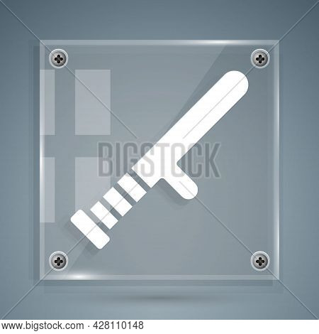White Police Rubber Baton Icon Isolated On Grey Background. Rubber Truncheon. Police Bat. Police Equ