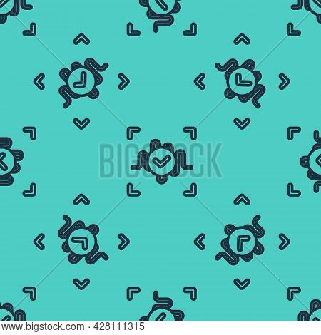 Black Line Voice Recognition Icon Isolated Seamless Pattern On Green Background. Voice Biometric Acc