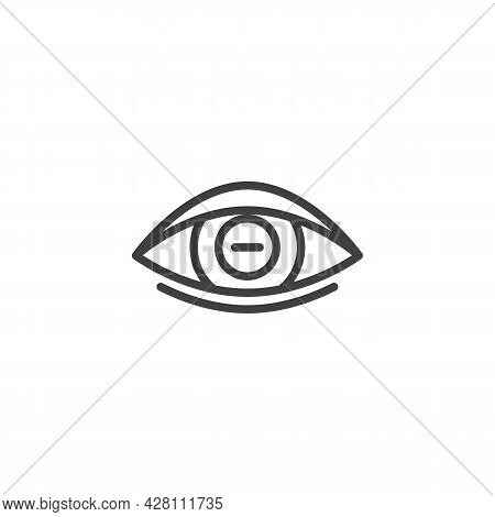 Myopia Eye Lens Line Icon. Linear Style Sign For Mobile Concept And Web Design. Human Eye With Minus