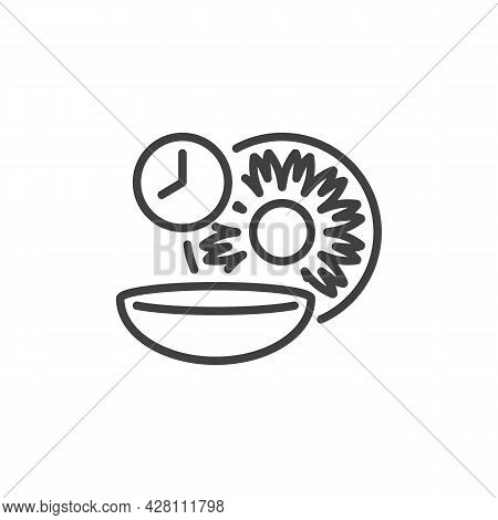 Contact Lens Wear Time Line Icon. Linear Style Sign For Mobile Concept And Web Design. Eye Lens And