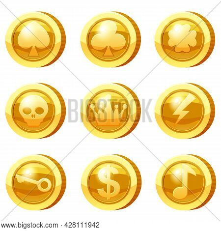Set Of Golden Coins For Game Apps. Gold Icons, Heart, Crown, Symbols Game Ui, Gaming Gambling. Vecto