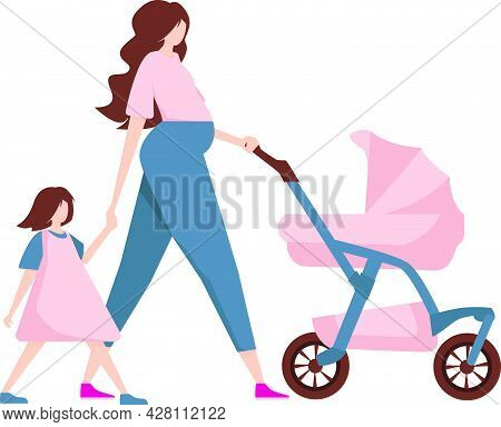 A Young Mother Walks With A Child In A Stroller And With Her Daughter By The Hand. A Modern Fashiona