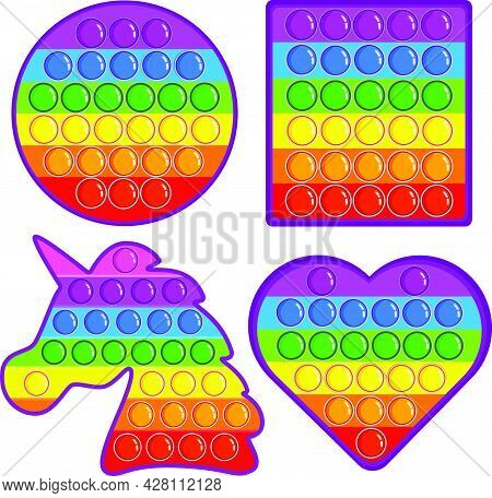 Simple Dimple Spinner In Square Shape, Heart Shape, Unicorn Shape And Round Shape. A Set Of Popular