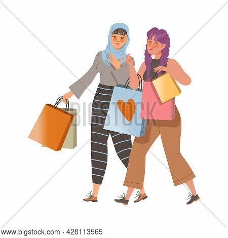 Female Friend Spending Time Together Carrying Shopping Bags And Gossiping Vector Illustration