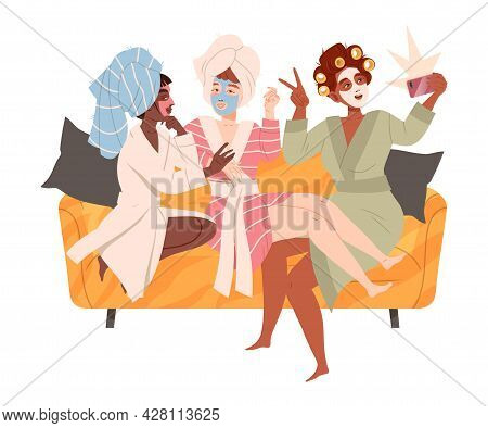 Female Friend Spending Time Together Sitting On Sofa, Taking Selfie And Gossiping Vector Illustratio