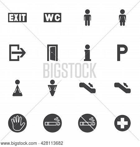 Public Navigation Vector Icons Set, Modern Solid Symbol Collection, Filled Style Pictogram Pack. Sig